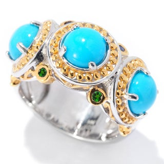 One-of-a-kind Michael Valitutti Round Cabochon Sleeping Beauty Turquoise with Chrome Diopside Cocktail Ring