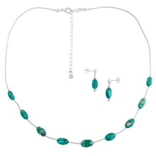 Liquid Silver Castle Dome Turquoise Necklace and Earrings Set