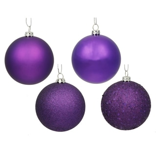 Purple 2.75-inch 4 Finish Assorted Ornaments (Pack of 20)