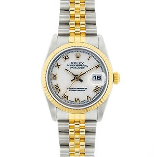Pre-Owned Rolex Midsize Datejust 31mm Two-tone White Roman Dial Watch Model 68273