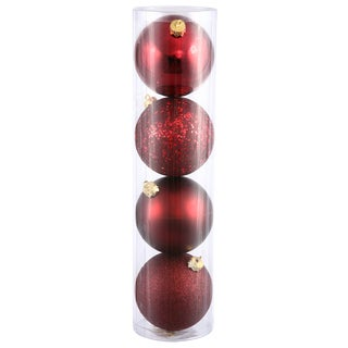 Burgundy Four-finish 2.75-inch Assorted Ornaments (Pack of 20)
