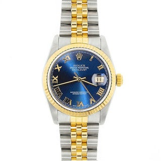 Pre-Owned Rolex Midsize Datejust 31mm Two-tone Blue Roman Dial Watch Model 68273