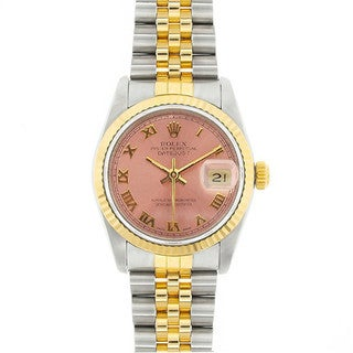 Pre-Owned Rolex Midsize Datejust 31mm Two-tone Salmon (Pink) Roman Dial Watch Model 68273