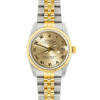 Pre-Owned Rolex Midsize Datejust 31mm Two-tone Champagne Roman Dial Watch Model 68273
