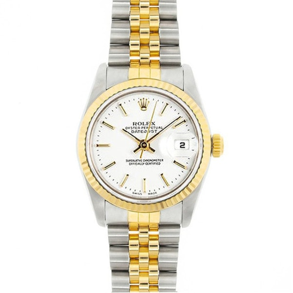 Pre-Owned Rolex Women's Midsize Datejust 31mm Two-tone White Stick Dial Watch Model 68273