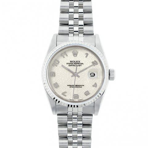 Pre-Owned Rolex Midsize Datejust 31mm Stainless Steel Ivory Jubilee Arabic Dial Watch Model 68274