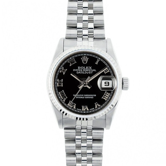 Pre-owned Rolex Ladies Midsize Datejust Steel Silver Inde...