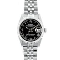 Pre-Owned Rolex Midsize Datejust 31mm Stainless Steel Black Roman Dial Watch Model 68274