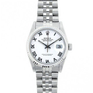 Pre-Owned Rolex Midsize Datejust 31mm Stainless Steel White Roman Dial Watch Model 68274