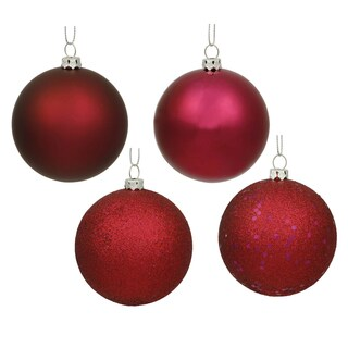 Wine Plastic 2.4-inch 4-finish Assorted Ornaments (Pack of 24)