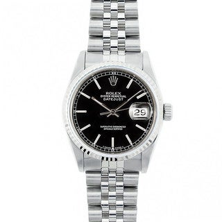 Pre-Owned Rolex Midsize Datejust 31mm Stainless Steel Black Railroad Stick Dial Watch Model 68274