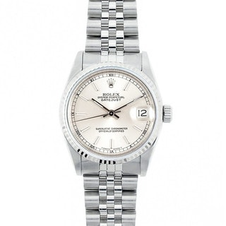 Pre-Owned Rolex Midsize Datejust 31mm Stainless Steel Silver Railroad Stick Dial Watch Model 68274