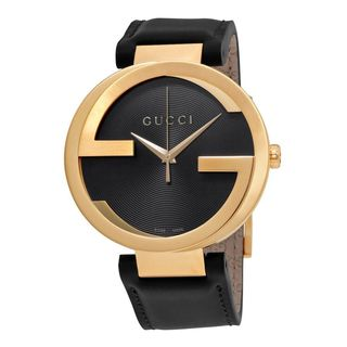 Gucci Men's YA133212 'Interlocking-G' Black Leather Watch