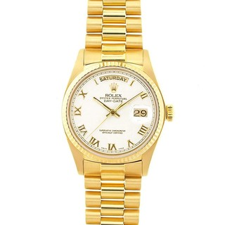 Pre-owned Rolex Day-Date President Men's 18k Gold White Roman Watch Model 18038