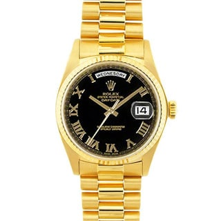Pre-owned Rolex Day-Date President Men's 18k Gold Black Roman Watch Model 18038