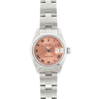 Pre-Owned Rolex Women's Datejust 26mm Stainless Steel Salmon (Pink) Roman Dial Watch Model 69160