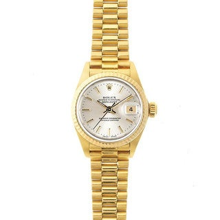 Pre-Owned Rolex Women's President 26mm 18K Yellow Gold Silver Stick Dial Watch Model 69178