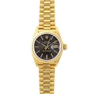 Pre-Owned Rolex Women's President 26mm 18k Yellow Gold Black tapestry Stick Dial Watch Model 69178