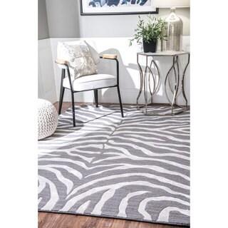 nuLOOM Handmade Zebra Faux Silk/ Wool Grey Rug (5' x 8')