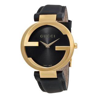Gucci Unisex YA133326 'Interlocking-G' Black Leather Watch
