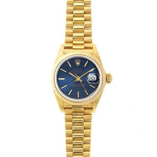 Pre-Owned Rolex Women's President 26mm 18k Yellow Gold Blue Stick Dial Watch Model 69178