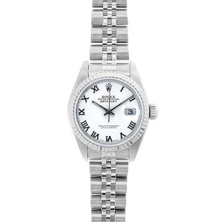 Pre-Owned Rolex Women's Datejust 26mm Stainless Steel White Roman Dial Watch Model 69174