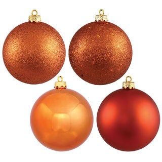 Burnished Orange Plastic 3-inch 4-finish Assorted Ornaments (Pack of 16)
