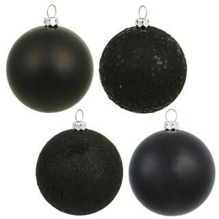 Black Assorted Finish 3-inch Ornaments (Case of 16)