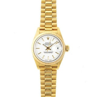 Pre-Owned Rolex Women's President 26mm 18k Yellow Gold White Stick Dial Watch Model 69178