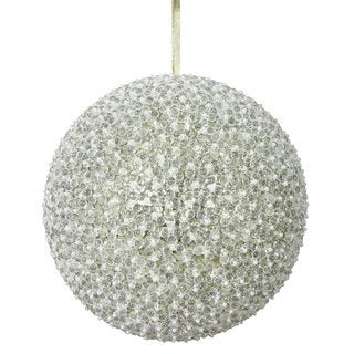 Champagne Acrylic 10-inch Beaded Ball Ornament