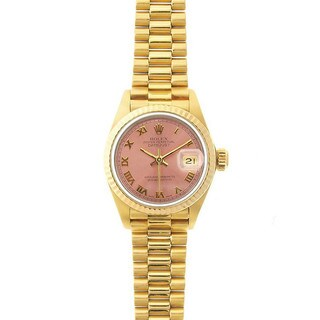 Pre-Owned Rolex Women's President 26mm 18k Yellow Gold Salmon (Pink) Roman Dial Watch Model 69178