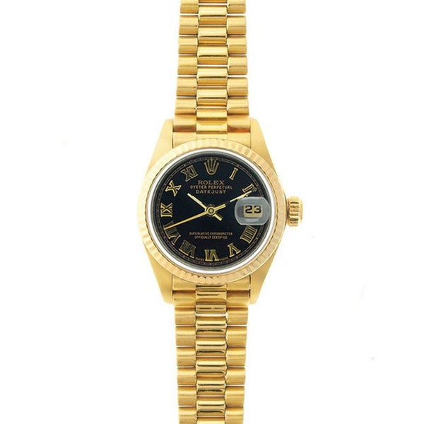 Pre-Owned Rolex Women's President 26mm 18k Yellow Gold Black Roman Dial Watch Model 69178