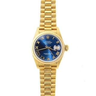 Pre-Owned Rolex Women's President 26mm 18k Yellow Gold Blue Roman Dial Watch Model 69178