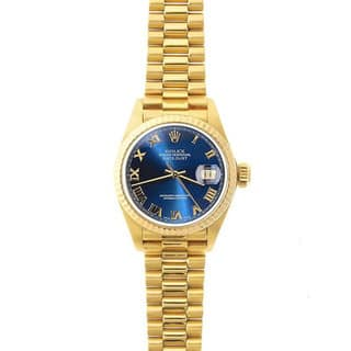 Pre-Owned Rolex Women's President 26mm 18k Yellow Gold Blue Roman Dial Watch Model 69178