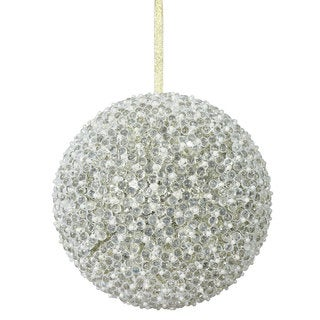 Champagne Acrylic 8-Inch Beaded Ball Ornament
