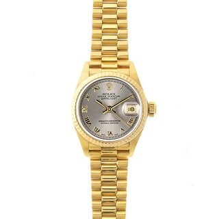 Pre-Owned Rolex Women's President 26mm 18k Yellow Gold Steel Roman Dial Watch Model 69178