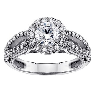 14k or 18k White Gold 1 7/8ct TDW Halo Brilliant Diamond Engagement Ring