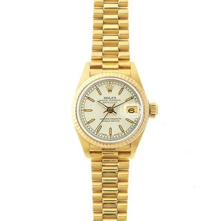 Pre-Owned Rolex Women's President 26mm 18k Yellow Gold Ivory Jubilee Index Dial Watch Model 69178