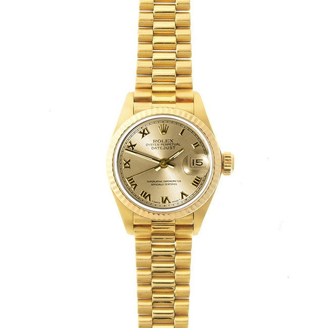 Pre Owned Rolex Women S President 26mm 18k Yellow Gold Champagne Roman Dial Watch Model 69178