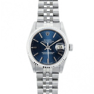 Pre-Owned Rolex Midsize Datejust 31mm Stainless Steel Blue Stick Dial Watch Model 68274