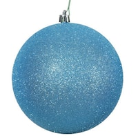 Turquoise Glitter Plastic 3-inch Ball Ornaments (Pack of 12)