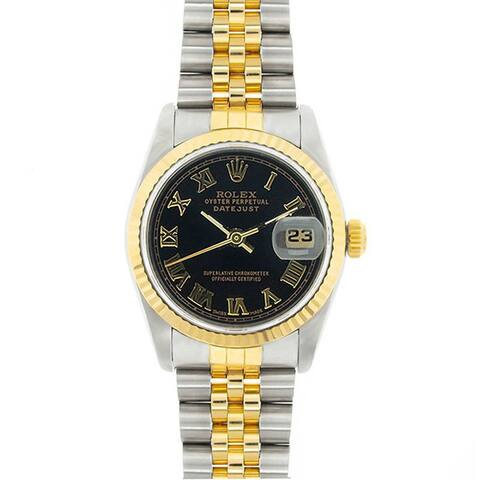 Pre-Owned Rolex Midsize Datejust 31mm Two-tone Black Roman Dial Watch Model 68273