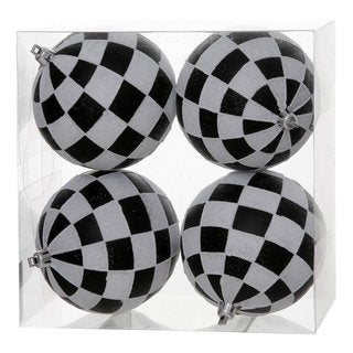 Black-White Plastic 4-inch Check Glitter Ball Ornament (Pack of 4)