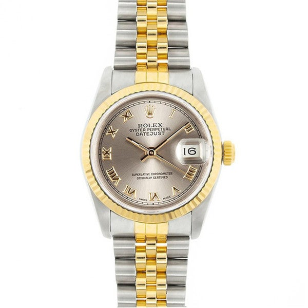Pre-Owned Rolex Midsize Datejust 31mm Two-tone Silver Roman Dial Watch Model 68273