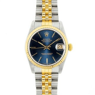 Pre-Owned Rolex Midsize Datejust 31mm Two-tone Blue Stick Dial Watch Model 68273