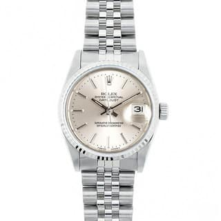 Pre-Owned Rolex Midsize Datejust 31mm Stainless Steel Silver Stick Dial Watch Model 68274