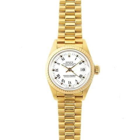 Pre-Owned Rolex Women's President 26mm 18k Yellow Gold White Roman Dial Watch Model 69178