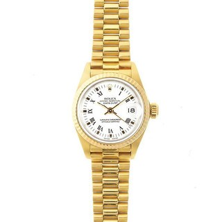 Pre-Owned Rolex Women's President 26mm 18k Yellow Gold White Roman Dial Watch Model 69178
