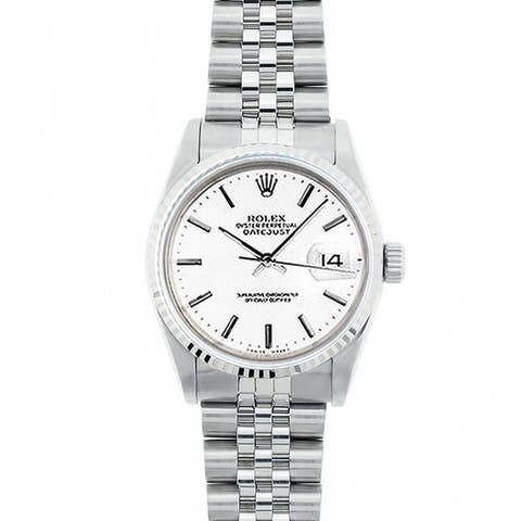 Pre-Owned Rolex Midsize Datejust 31mm Stainless Steel White Stick Dial Watch Model 68274