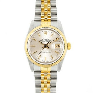 Pre-Owned Rolex Midsize Datejust 31mm Two-tone Silver Stick Dial Watch Model 68273